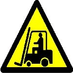 Caution fork-lift trucks operating